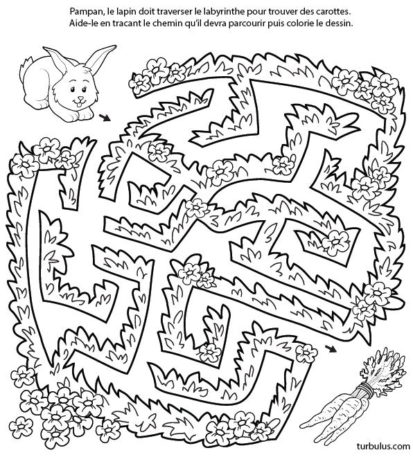 Jeu de labyrinthe gratuit le lapin et les carottes maternelle mazes for kids maze et games - Jeu labyrinthe a imprimer ...