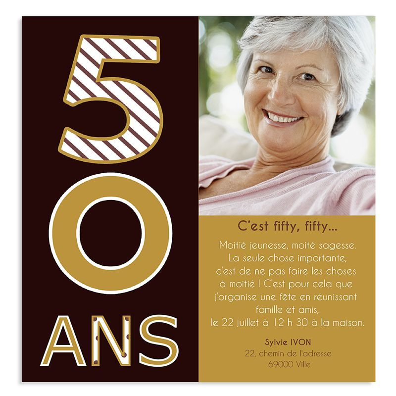 carte d 39 invitation anniversaire 50 ans humoristique gratuite imprimer organisation reception. Black Bedroom Furniture Sets. Home Design Ideas
