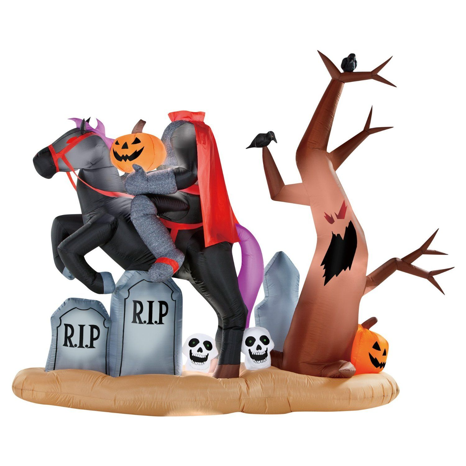 Outdoor inflatable halloween decorations - Amazon Com Gemmy 9ft X 7 Ft Halloween Animated Headless Horseman Graveyard Airblown Inflatable