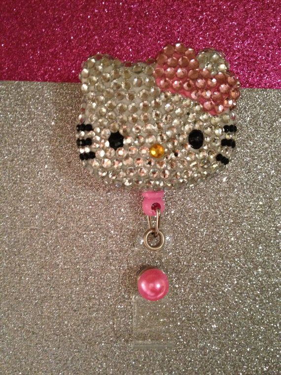 Bling Hello Kitty Badge Holder by Taniaworkidholder on Etsy, $20.00