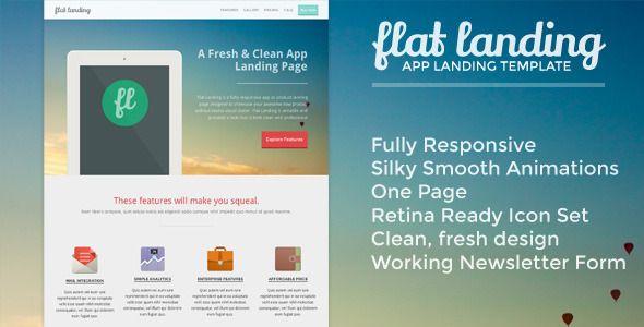 Flat Landing - Responsive Product Landing Template - 25 Prodigious ...