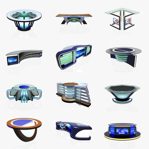 Virtual Tv Studio News Desk Collection 12 Pieces 3d Model Tv Set Design Stage Set Design Tv Design