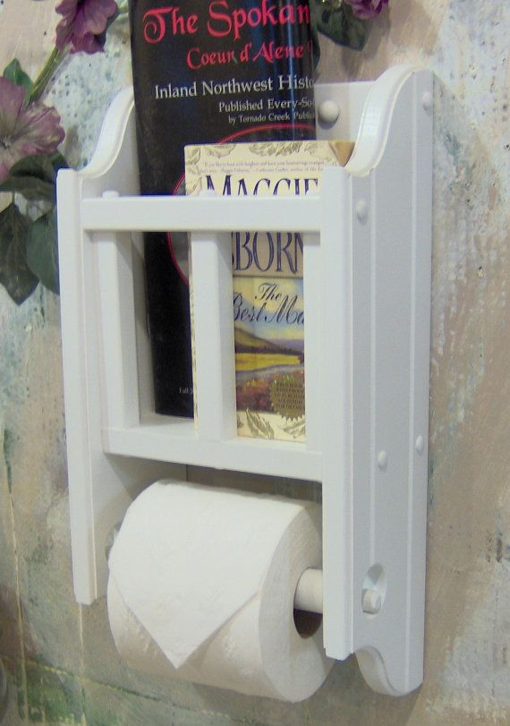 Www Etsy Com 27 White Wooden Magazine Rack With Toilet Paper Holder Wooden Magazine Rack Wooden Toilet Paper Holder Toilet Paper