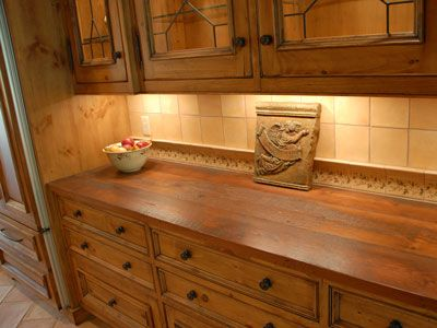 Wood Countertop In Built In Buffet Hickory Kitchen Cabinets