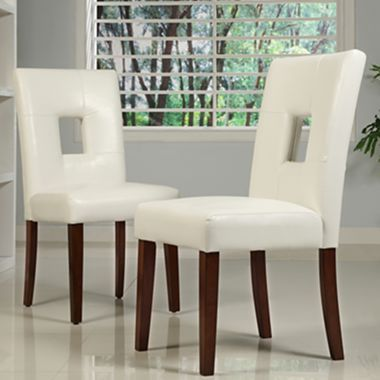 Room Pair Of Open Back White Dining Chairs