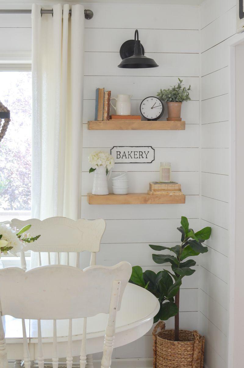 Farmhouse Style Floating Shelves | Dining room shelves ...