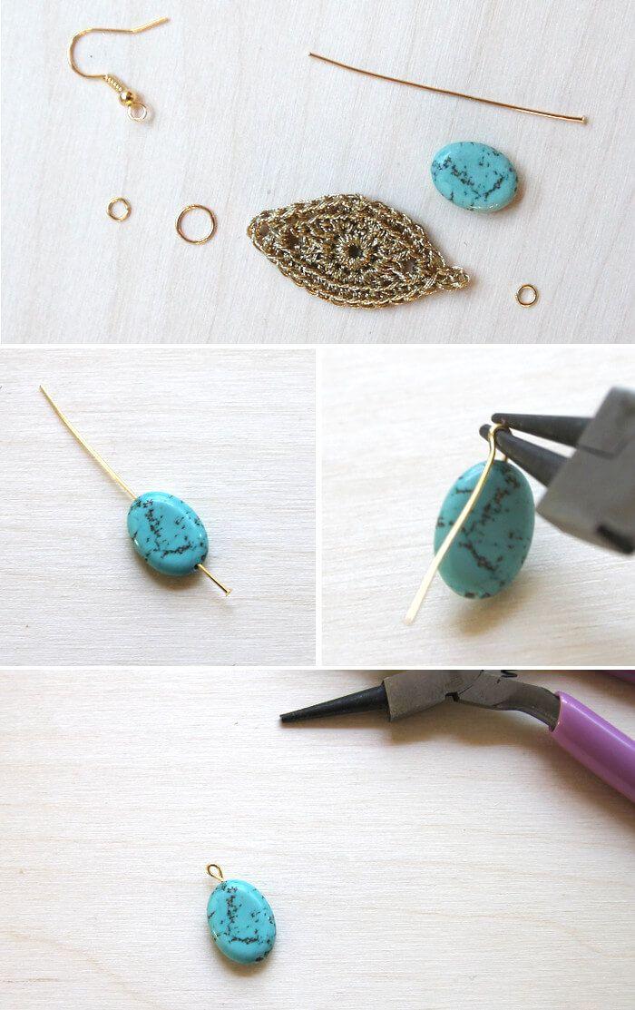 DIY Gold Crochet Earrings | Pinterest | Joyerías