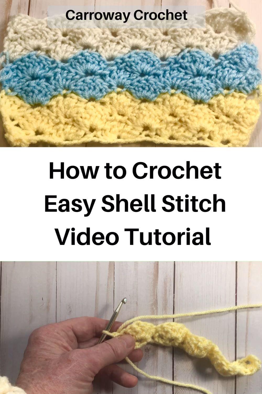 Photo of Shell Stitch video tutorial, easy shell stitch crochet video