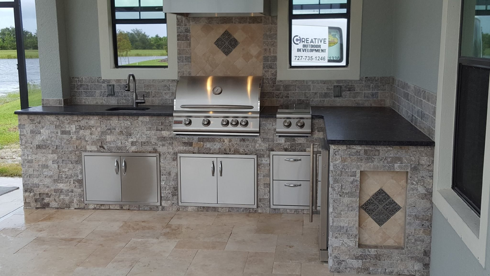 Combining Premium Features With Affordability Blaze Grills And Outdoor Products Are The Perfect Addition To A Concrete Kitchen Kitchen Builder Outdoor Kitchen