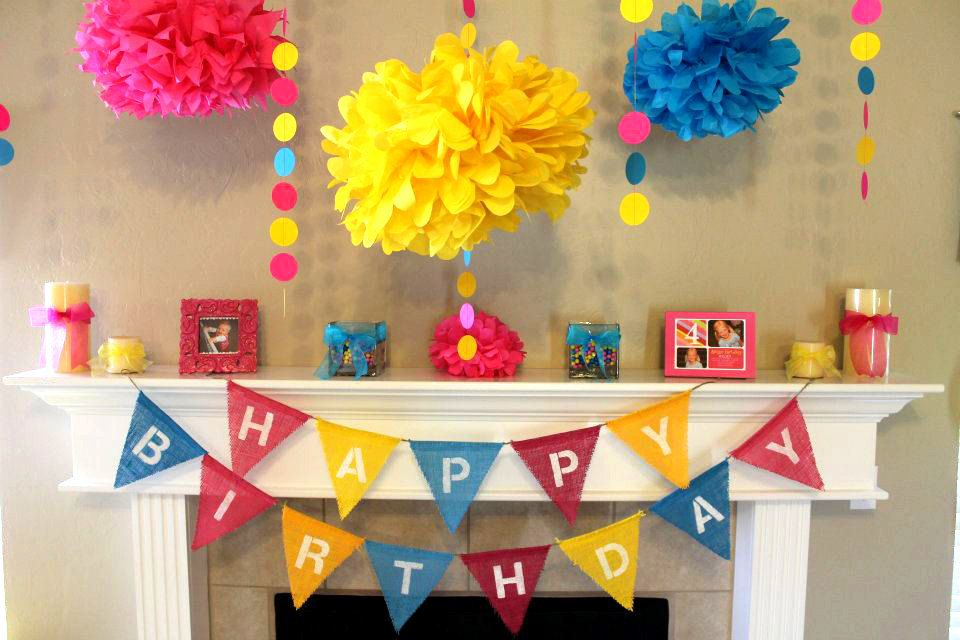 Girl Happy Birthday Burlap Bunting Banner Photo Prop Mantle Decor Wall Can Customize Colors Pink Blue Yellow 4000 Via Etsy
