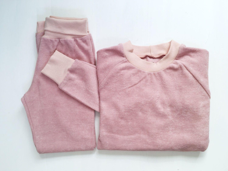 Kinder Pyjama Bio Baumwolle Frottee Rosa Kinder Schlafanzug