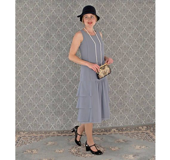 Grey drop waist dress with tiered skirt, Great Gatsby party dress, 1920s  costume, Downton Abbey dress, 1920s flapper dress, high tea dress