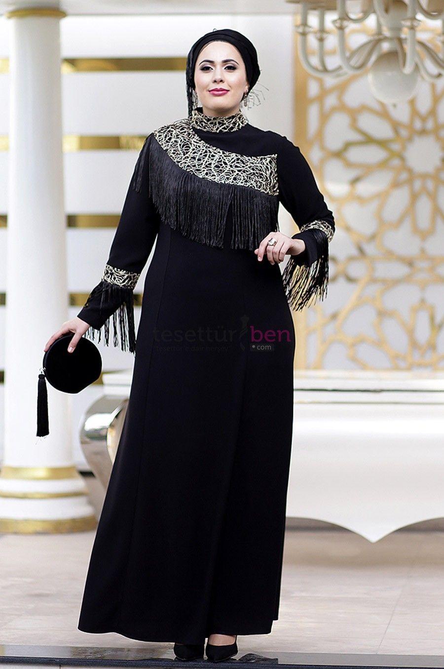 Nesrin Emniyetli Puskullu Gold Buyuk Beden Tesettur Abiye Siyah Giyim Plus Size Dresses Elbiseler