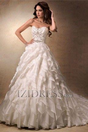 A-Line Ball Gown Strapless Sweetheart Chiffon Wedding Dress - IZIDRESS.com