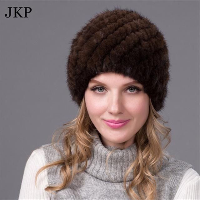 ac70e077955 Russian Real Mink Fur Hat for Women Winter Mink Pom Pom Hats Fur Hat Fox  Fur Hat for Girls BZ-05