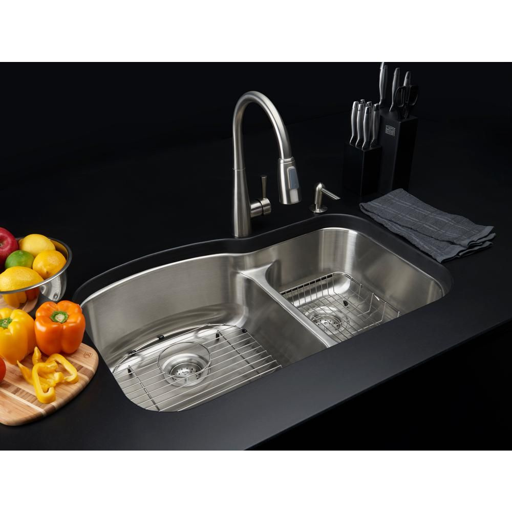 Glacier Bay All In One Drop In Stainless Steel 22 In 2 Hole Double Bowl Kitchen Sink Double Bowl Kitchen Sink Sink Stainless Steel Double Bowl Kitchen Sink