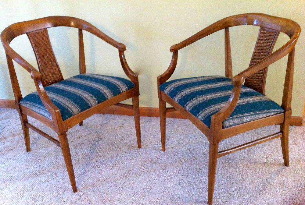 Mid Century Modern Thomasville Tamerlane Dining Table 2 Captain 4 Side Chairs