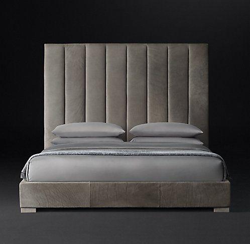 Best Rh Modern S Vertical Channel Panel Leather Platform Bed 400 x 300