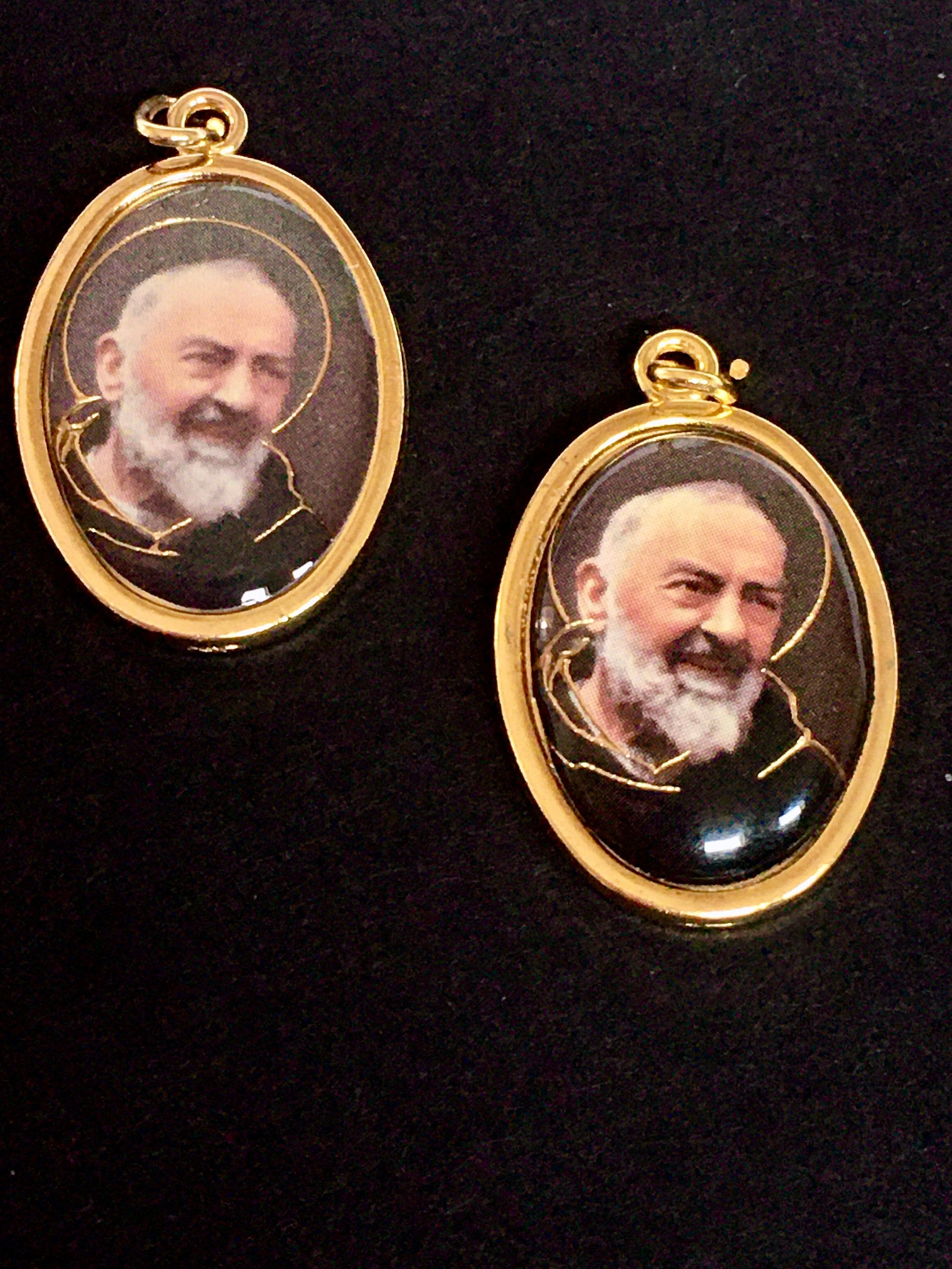 Saint Padre Pio Medals ITALY Set of 2 GOLD FOIL Italy Charm Pendant Catholic Rosary Dangle St Mystic #catholicrosaries