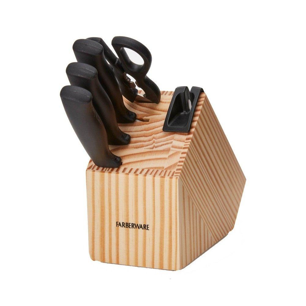 Farberware 5pc edgekeeper prep knife block set knife