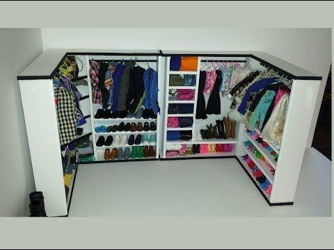 How To Make A Doll Walk In Closet With Foam Board Youtube Diy Dolls Wardrobe Diy Doll Closet Barbie Dolls Diy