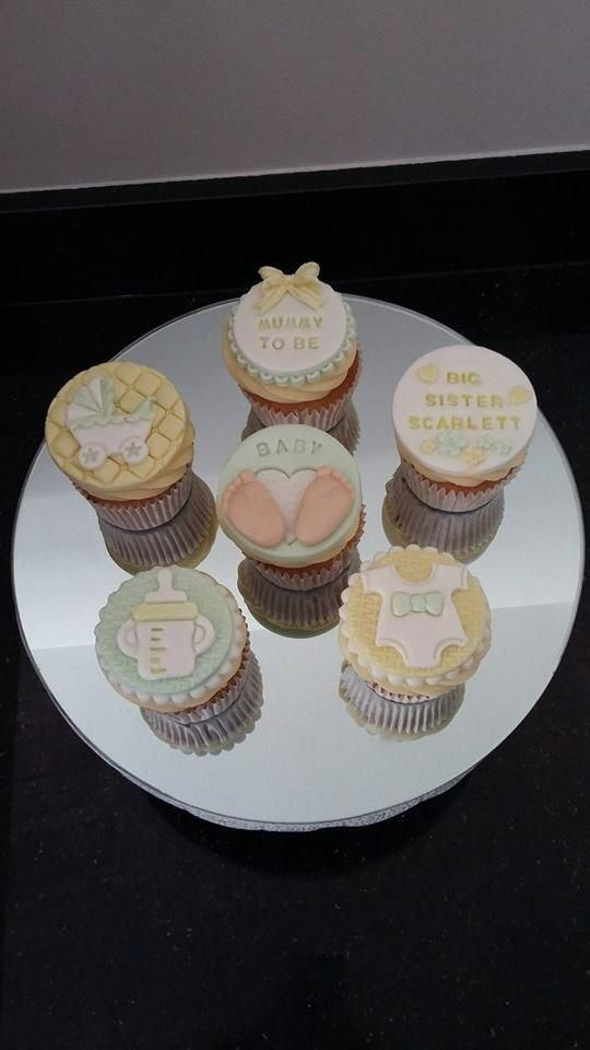 Gender Neutral Baby Shower Cupcakes In Pale Lemon And Green Baby Shower Cupcakes Neutral Baby Shower Cupcakes Baby Shower Afternoon Tea