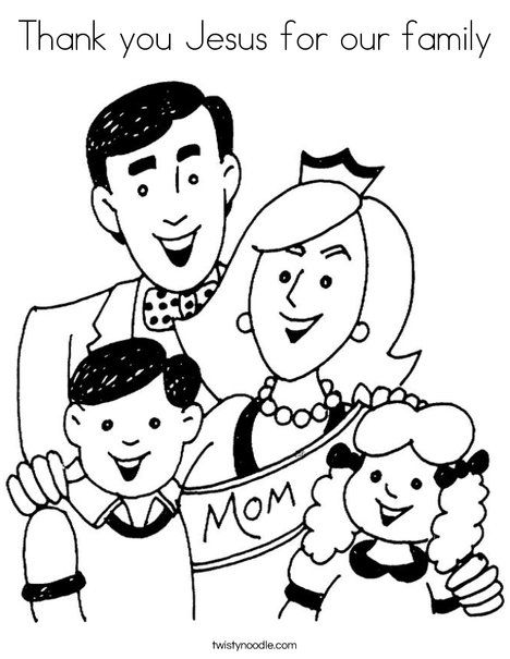 Thank You Jesus For Our Family Coloring Page Family Coloring Pages Family Coloring Cool Coloring Pages