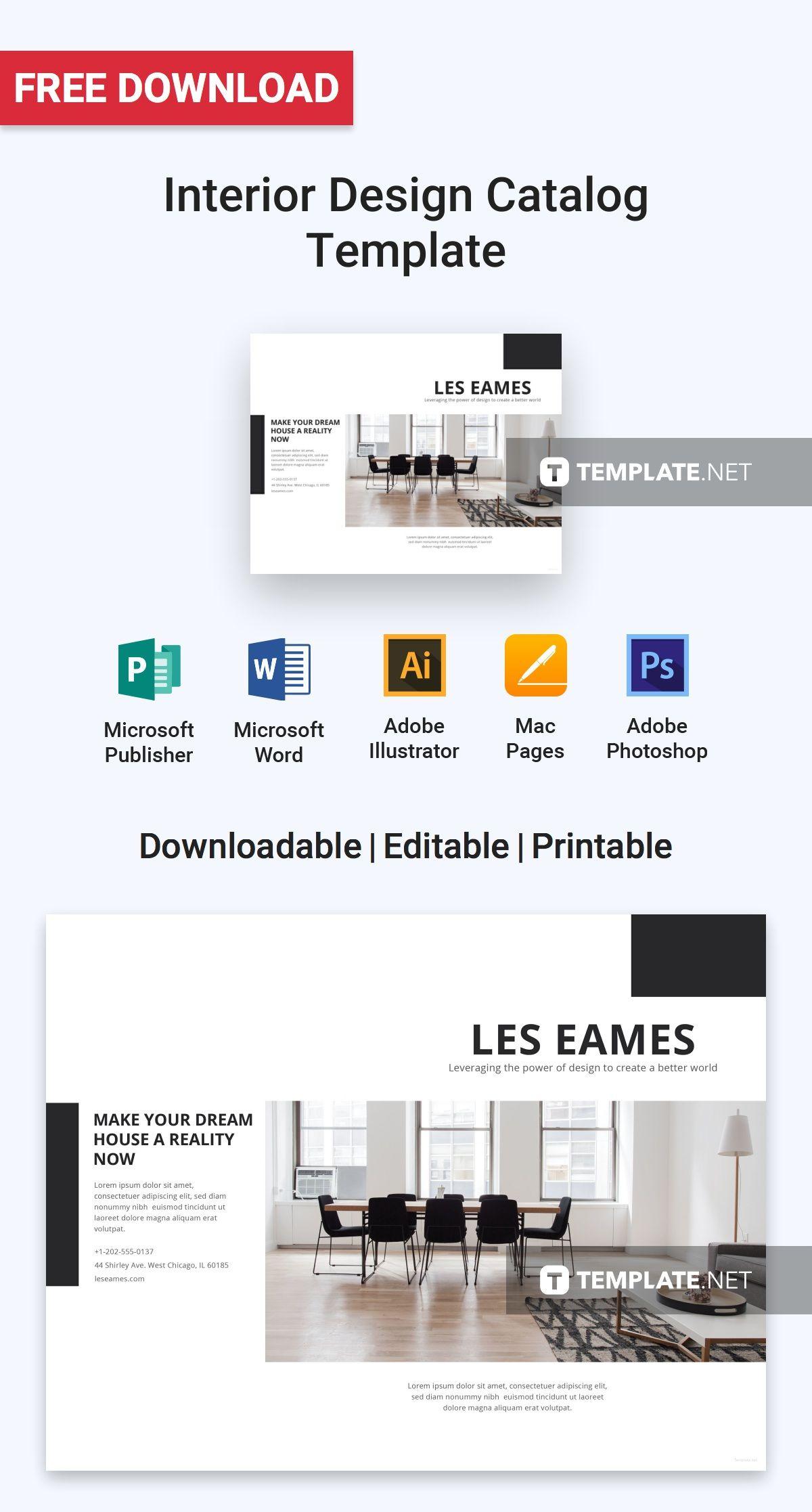 Free Interior Design Catalog Template Catalogue Design Templates