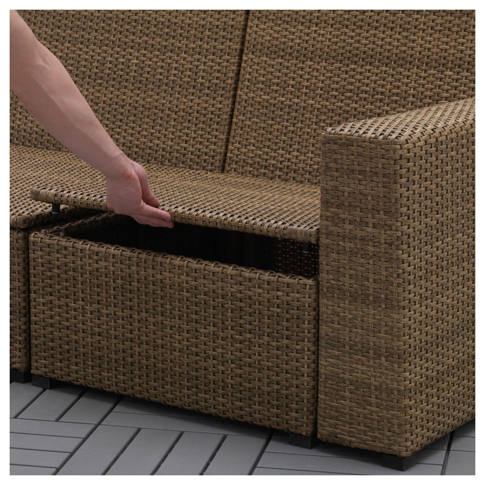 Divani In Rattan Ikea.Ikea Solleron 3 Seat Modular Sofa Outdoor Brown With Footstool In