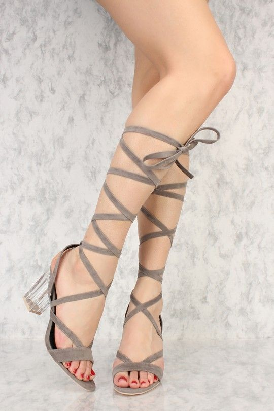 d70d64c6c7b4 Grey Strappy Lace Up Tie Clear Chunky High Heels Faux Suede