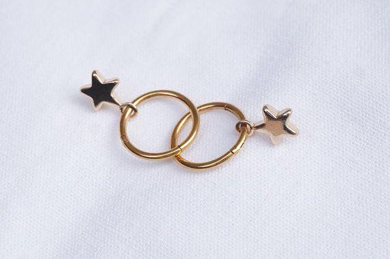 029559552b Star Hoops, Tiny Gold Hoop Earrings, Star Dangle Earrings, Star Charm Hoops,  Gold Dainty Earrings, Minimalist Earrings, Jewelry Gift for Her