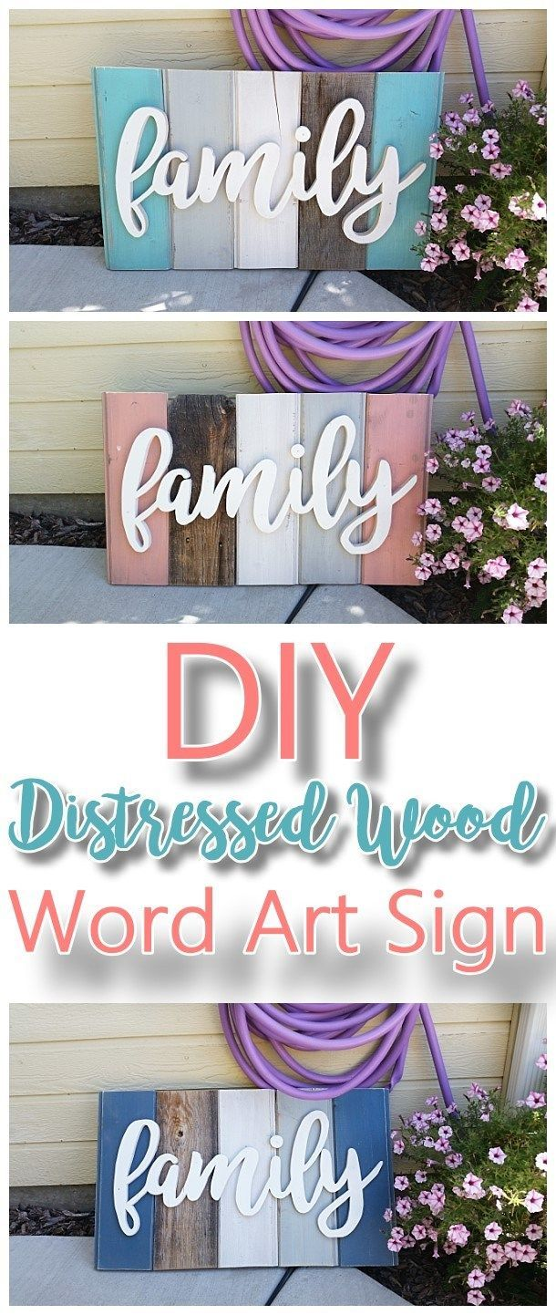 Diy family word art sign woodworking project tutorial technique diy family word art sign woodworking project tutorial technique for new wood distressed to look solutioingenieria Gallery