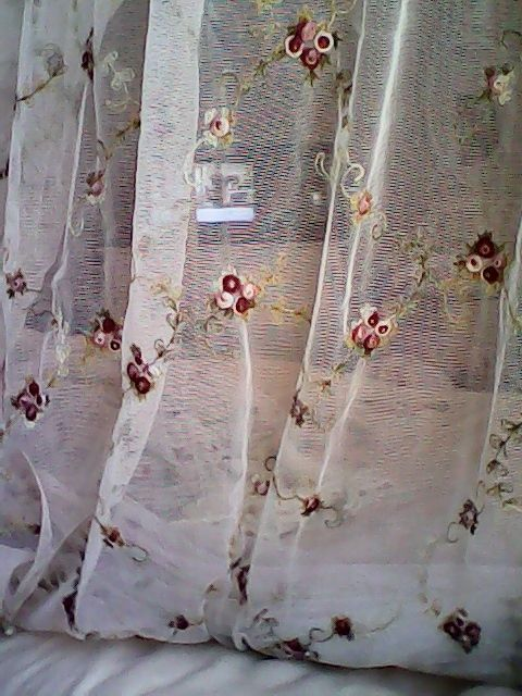 Embroidered Window Panel Curtain Scarf Sheer Net Lace