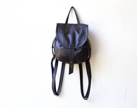 LITTLE CINCH PACK - small leather backpack lined in waxed canvas ...