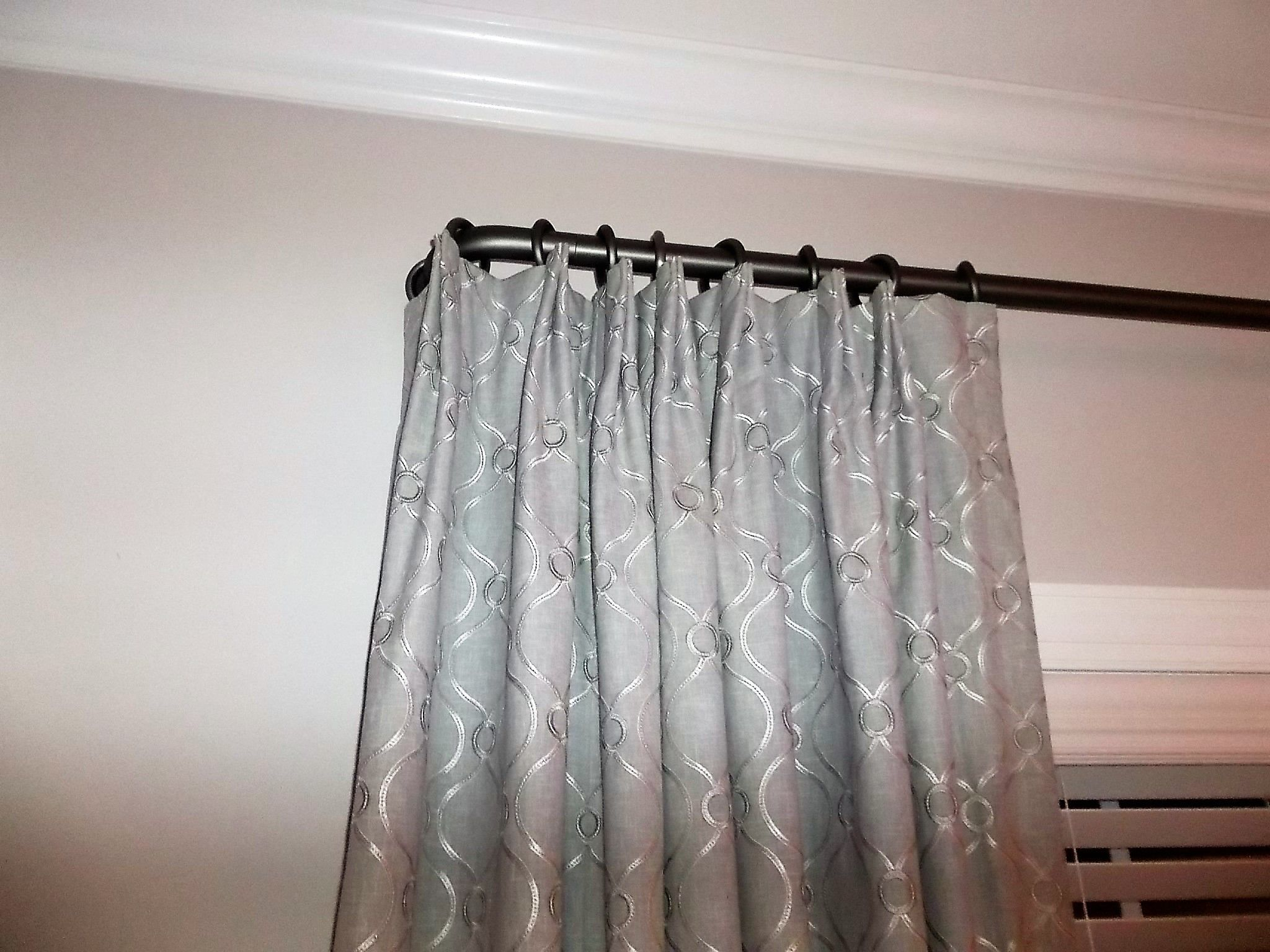 Euro Pleated Draperies On Rod With French Returns Pleated