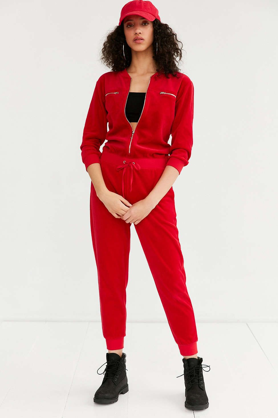 7bcbc9455266 Juicy Couture For UO Velour Coverall Red Jumpsuit