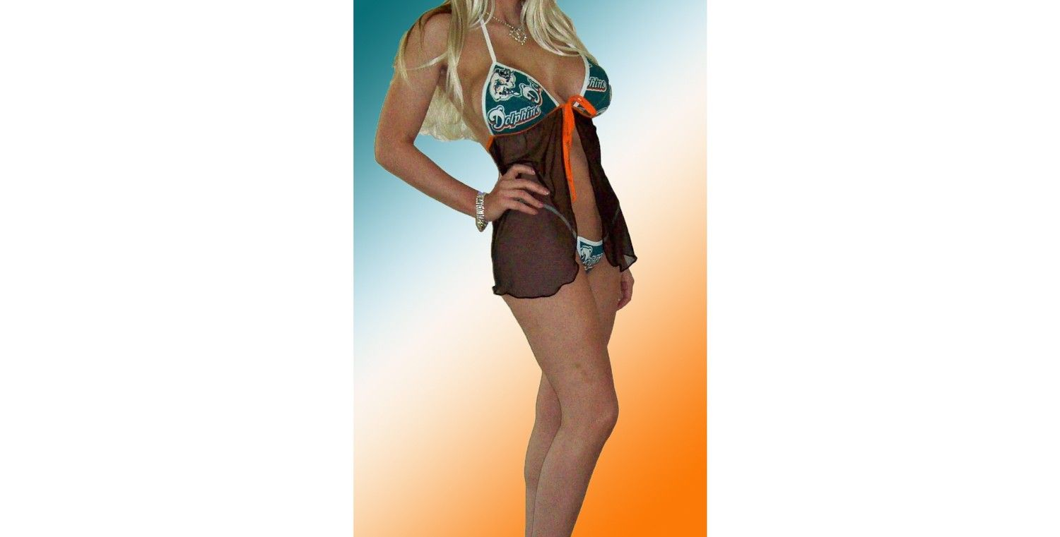 NFL Miami Dolphins Lingerie Negligee Babydoll Sexy Teddy Set ...