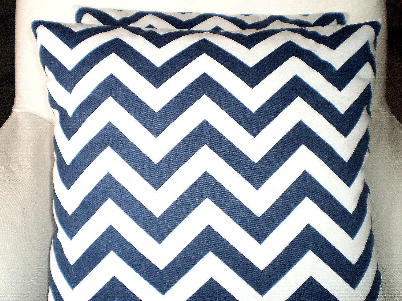 Pillows Decorative Pillows Accent Pillows Throw Pillow Cushion Covers Navy and White chevron $28.00, via Etsy.