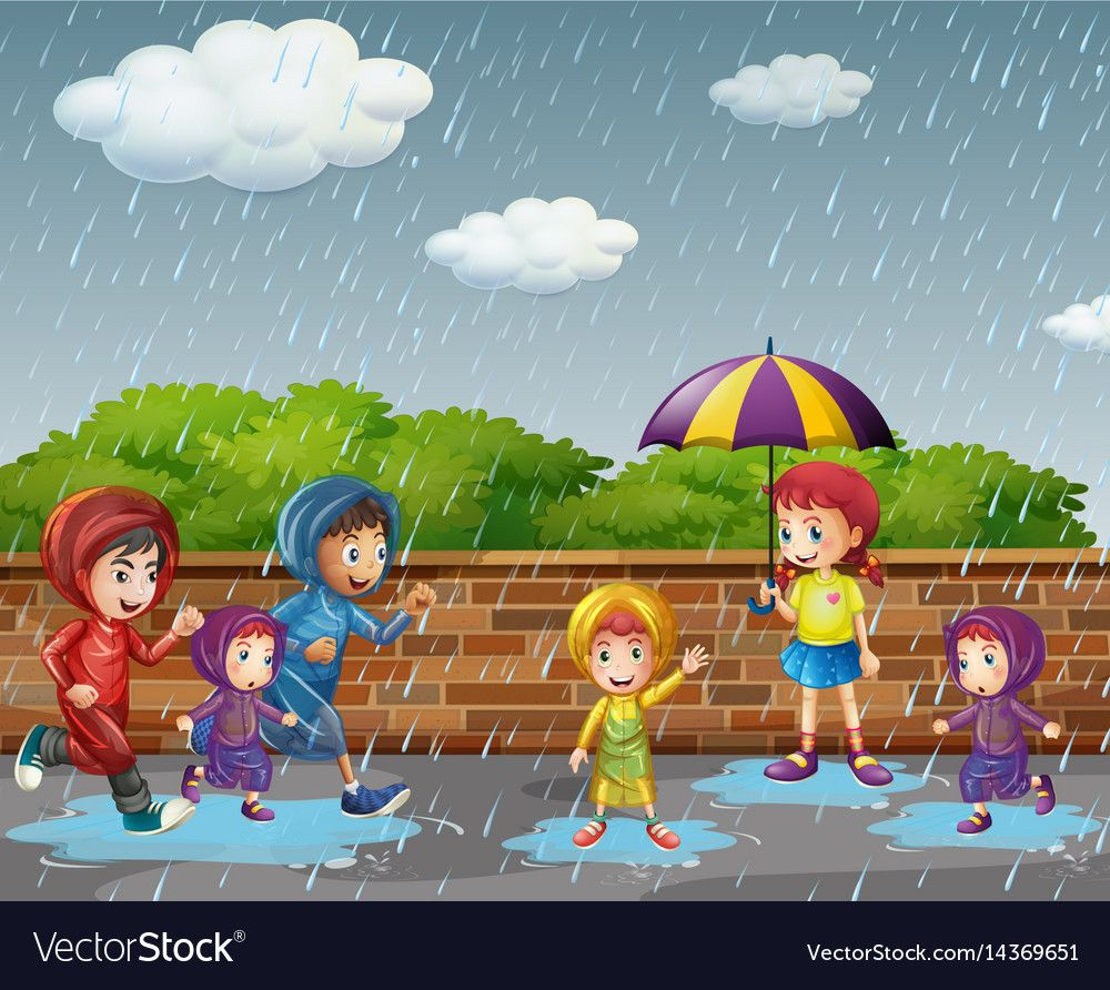 Many Children Running In The Rain Illustration Download A Free Preview Or High Quality Adobe Illustr Rain Illustration Rainy Day Drawing Rainy Season Pictures