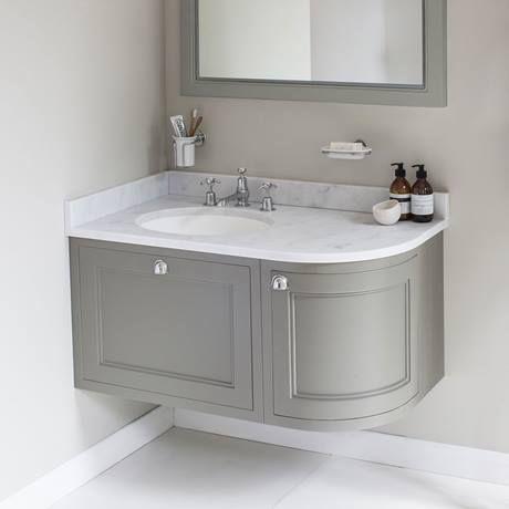 Image Result For Curved Bathroom Vanity One Side Corner Sink Bathroom Small Bathroom Inspiration Corner Vanity Unit