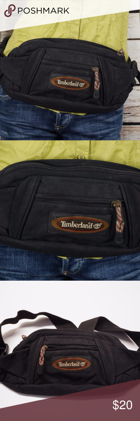 ca5f5e31e17 Timberland Waist Bag Fanny Pack Belt Wallet Black Hip Pouch Travel  Organizer Gently used On the larger size. Will fit approx. 32