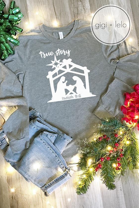 """""""True Story"""" Nativity Christmas TShirt Making shirts"""