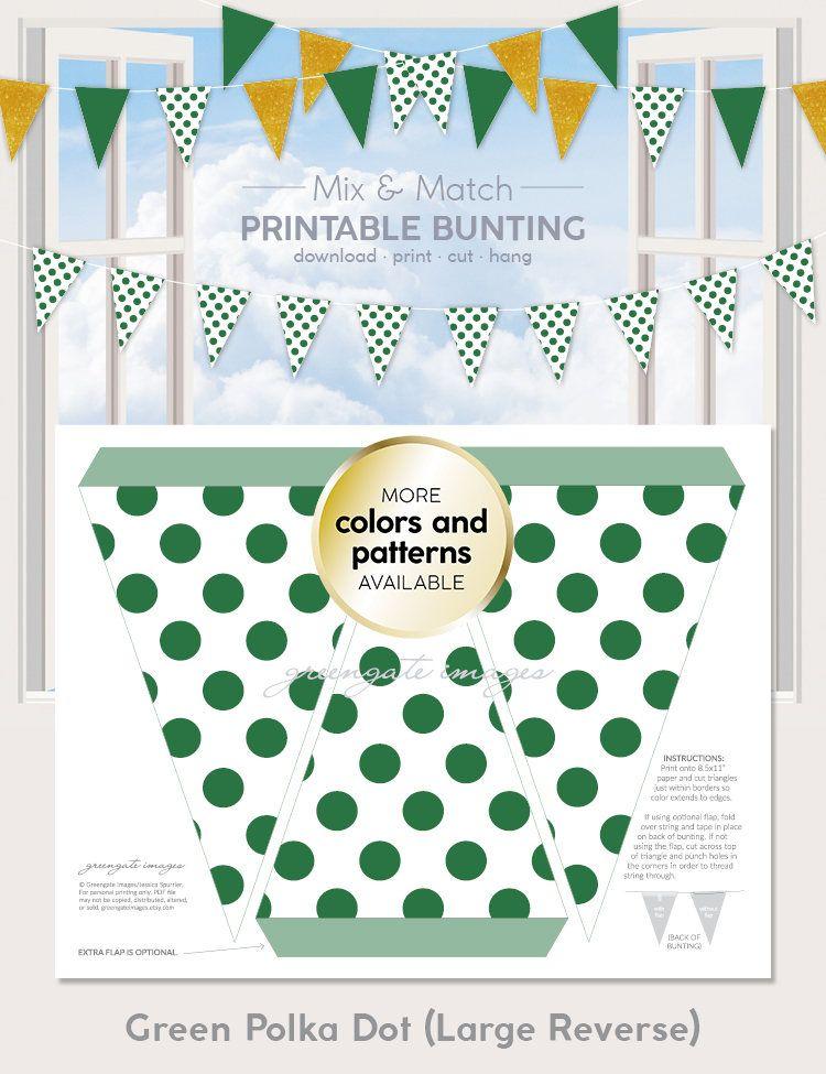 Green Polka Dot Printable Bunting Download - party decor, party