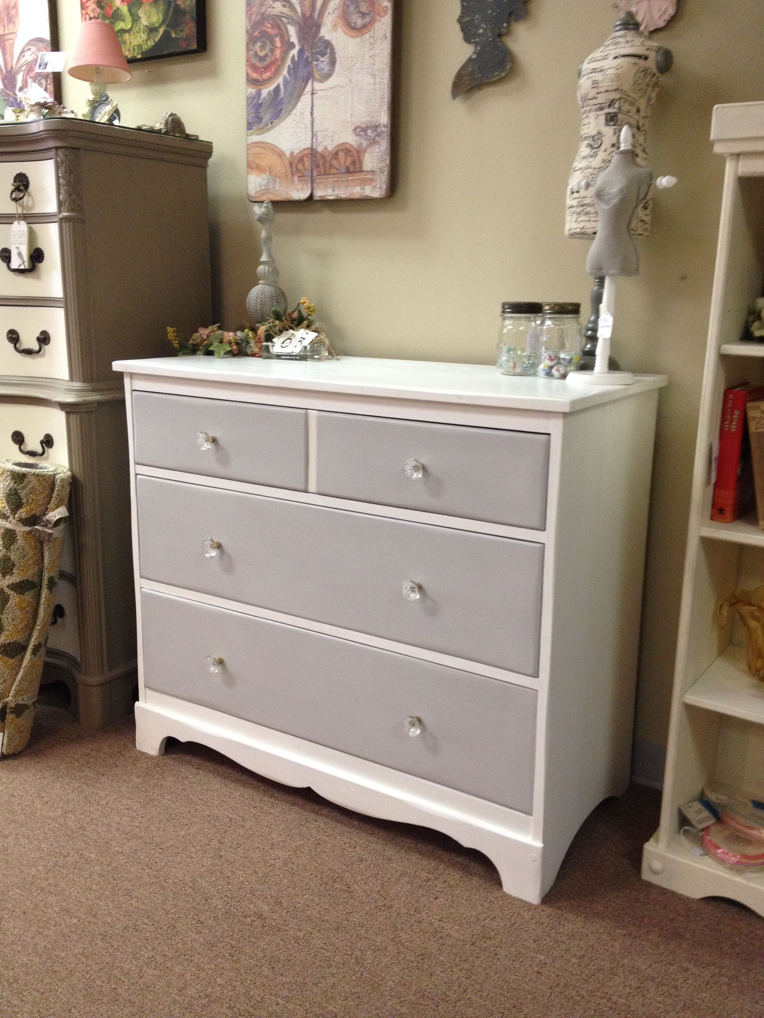 Dresser Painted With Annie Sloan Chalk Paint Pure White Body And Paris Grey Drawers Clear