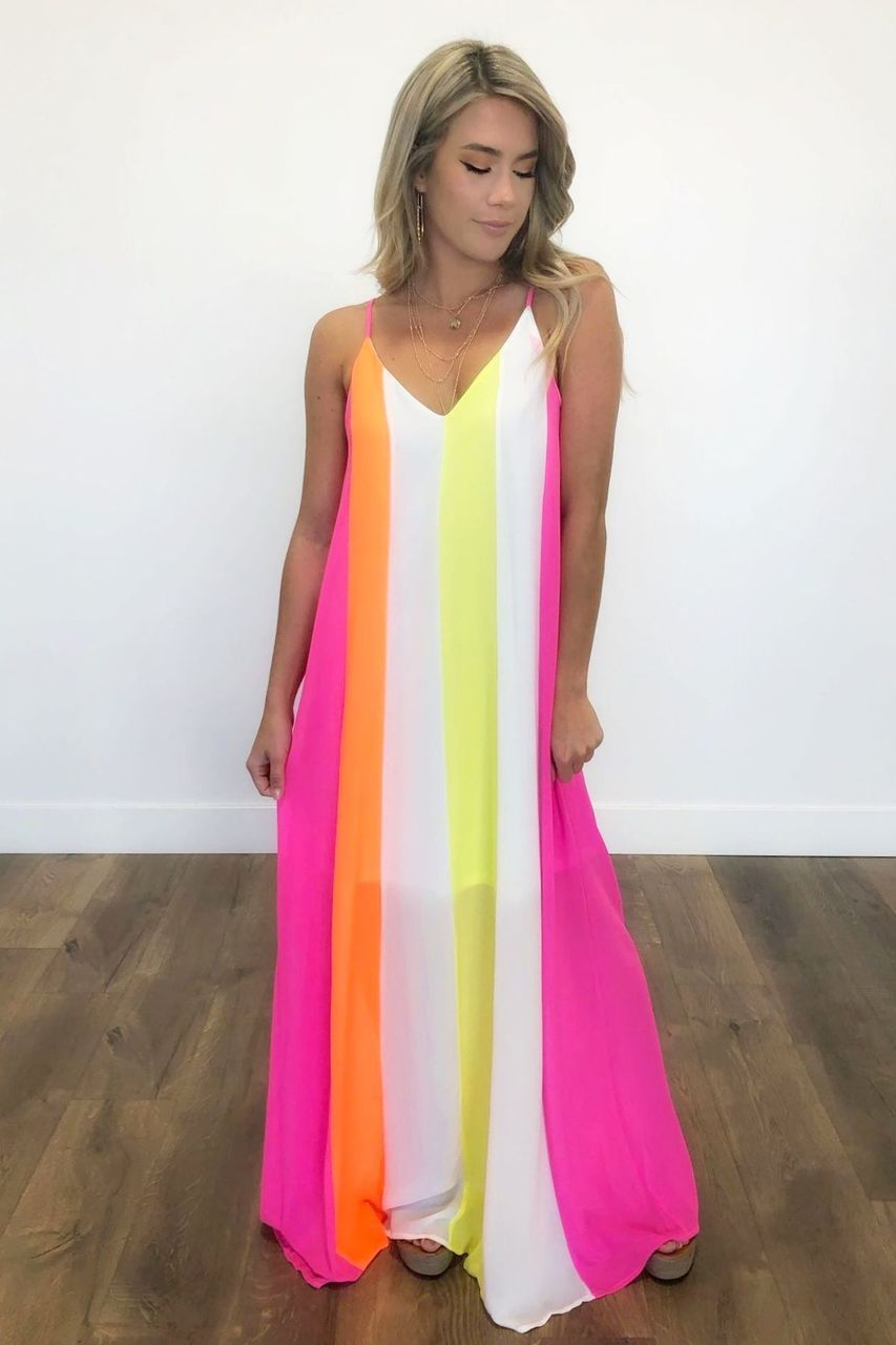 Striped Neon Chiffon Maxi Dress Stunning Neon Striped Maxi Dress With A Half Slip Liner And Horizontal Str Dresses Online Clothing Boutiques Boutique Dresses [ 1280 x 853 Pixel ]