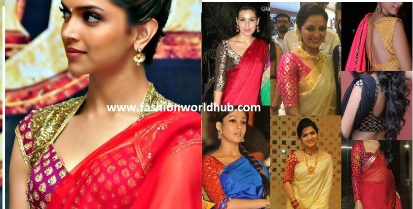 bca493feaee03 plain sarees with brocade blouses
