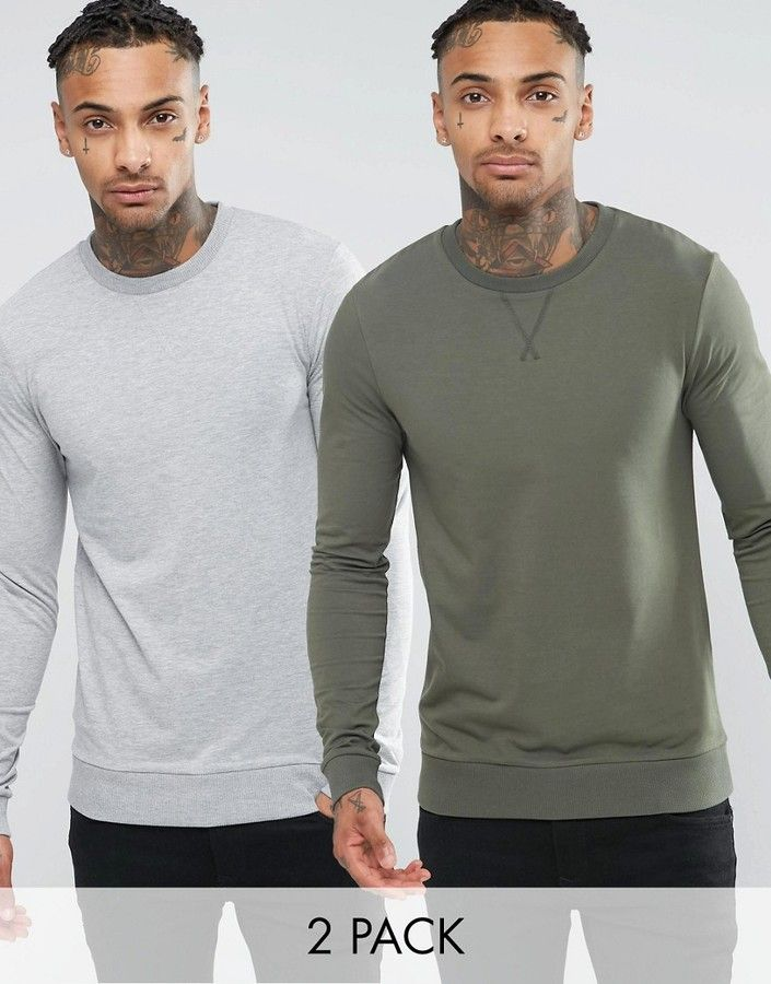 ASOS Lightweight Muscle Sweatshirt 2 Pack Khaki/Grey Marl