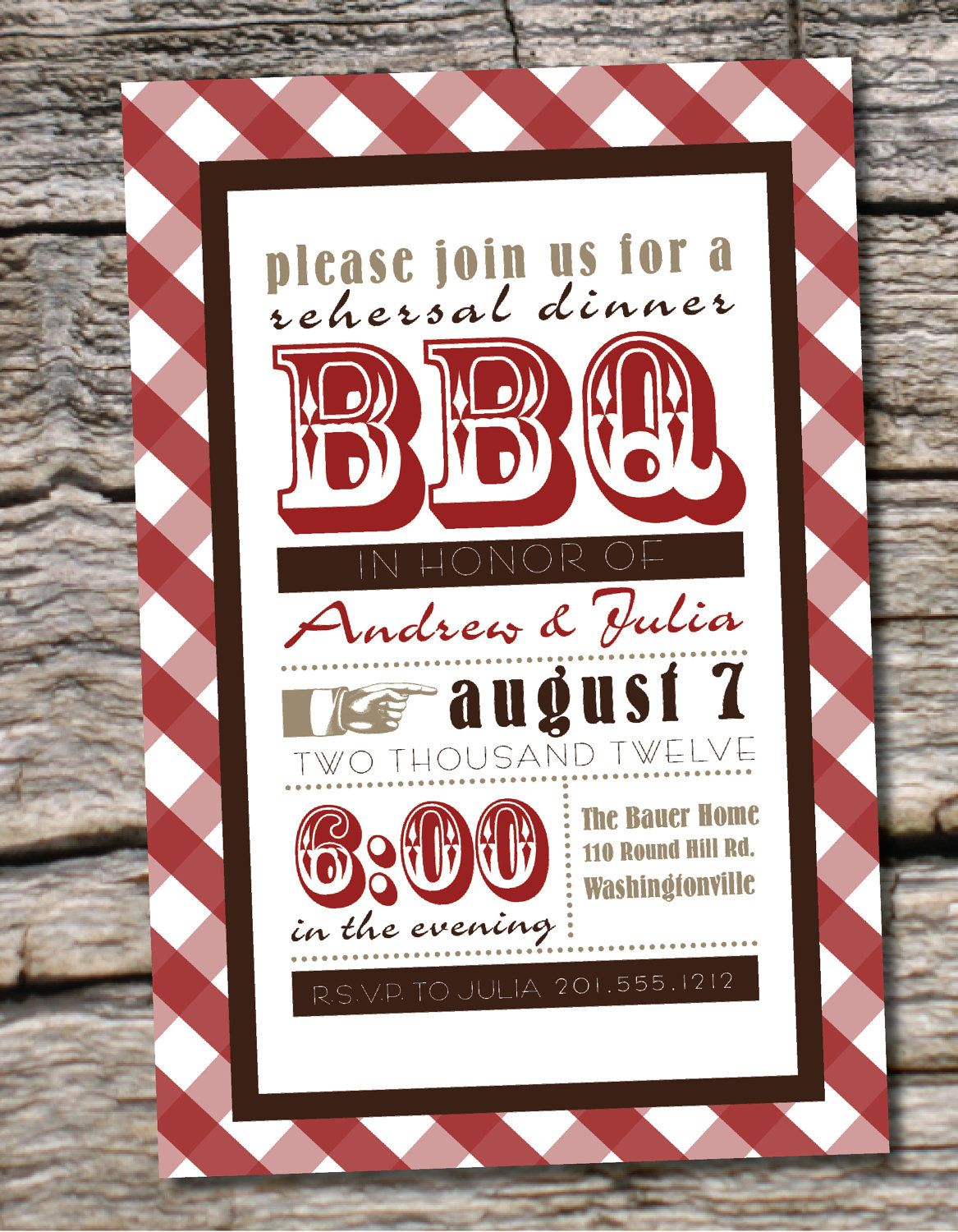 VINTAGE POSTER BBQ Barbeque Engagement/Rehersal Dinner Party ...