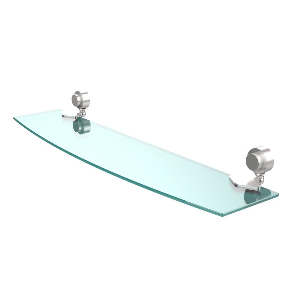 Allied Brass Venus 24 in. L x 2 in. H x 5 in. W Clear Glass Bathroom Shelf in Satin Chrome