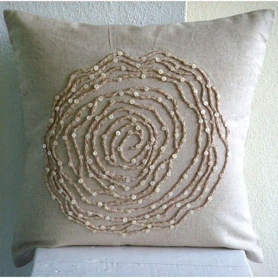 Designer Ecru Throw Pillow Covers Rose Flower Jute Cord Floral Theme Throw Pillows Decorative Throw Pillow Covers Throw Pillow Covers 20x20 Linen Throw Pillow
